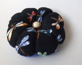 DRAGONFLY Blue Fabric PINCUSHION. Great for a sewing gift - Round Pin cushion Double Sided  dragonflies. Japanese Fabric. Needlework gift