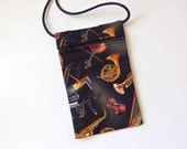 Pouch Zip Bag MUSICAL Black Fabric - great for walkers, markets, travel. Cell Phone Pouch, Piano Violin. Musical Instruments. small purse.