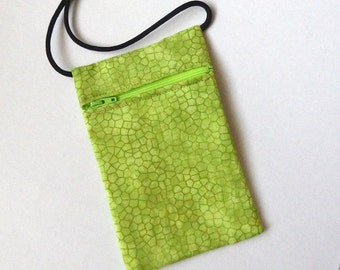 Pouch Zip Bag GREEN Fabric  Small fabric Purse. Great for walkers, markets, travel. Cell Phone Pouch.  sling bag coin pouch