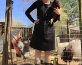 Women's 100% Linen, Tie-Back Smock Dress, Wrap Dress, Pinafore, Japanese Apron - Black w/ Grey Trim