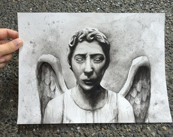 Weeping Angel Watercolor ORIGINAL Painting, Weeping Angel Art, Doctor Who Art, Doctor Who Painting, Don't Blink Sci-Fi Dr Who Art 9x12