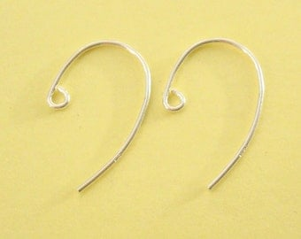 10 Pieces (5 Pairs), French Hook Swoop Ear Wire, Sterling Silver .925, 12mmx20mm, 20 Gauge, SE116