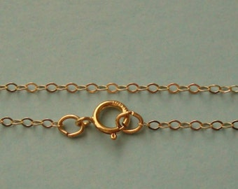 Finished Chain, 14k Gold Filled, 16 Inch, 1.5mm Flat Cable Chain with Spring Ring Clasp, GFFCH115