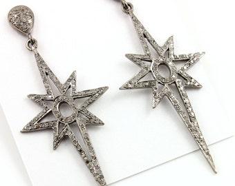 Pave Diamond Earrings, Pave Northern Star Earrings, Diamond Dangling Earrings, Pave Star, Pave Art Deco Earrings, Oxidized Silver.(Earr-024)