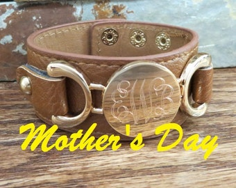 MOTHER'S DAY- Leather Monogram Bracelet - Initial Bracelet- Gifts for Women- Free Engraving