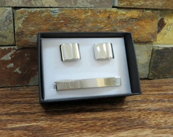 Tie Clip with Cuff Links- Personalized- Gifts for Men- Groomsman Gift- Gift for Father- Grandfather- Husband CUT-05