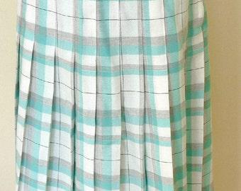 Vintage Fresh Check Green/Grey Pleated Plaid Skirt