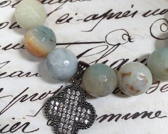 Lucky clover pendant, 23mm long, Herkimer Diamond pave pendant, pave pendant, pave diamonds, for necklace, earrings, clover charm