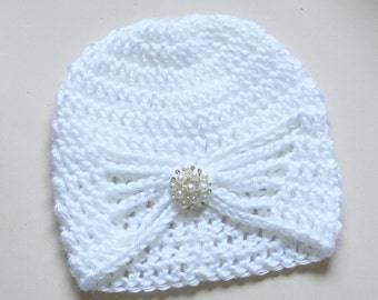 Baby Girl Hat - Newborn Crochet Hat - Jewel Hat - Turban Hat - Baby Girl Photo Prop - Butterfly Hat, Toddler Hat, Child Hat, Infant Hat