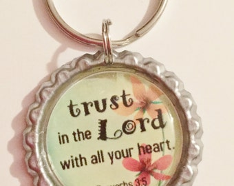 Trust in the Lord with All Your Heart Keychain Bottlecap Key Chain Keyring Christian Gift Wedding Favor