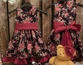 Girls holiday dress. Girls christmas dress. Black and red flower girl dress. Toddler girls christmas dress. Girls flower print dress