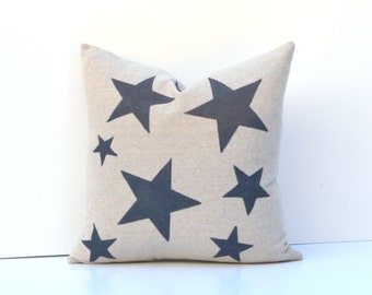 Decorative Pillow Cover Blue Stars Hand-Painted On Natural Canvas Many Sizes Available Square, Lumbar, 20 x 20, 18 x 18, 14 x 24 More