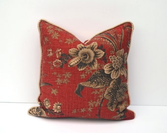Red Throw Pillow Cover, Red Linen With Tan, Brown, Gray Floral Pattern Finished With Custom Piping   Many Sizes, Square Or Lumbar