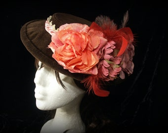 Brown velvet rococo hat with pink and peach decoration. Steampunk. Victorian. Edwardian. Lolita