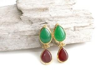 Teardrop Green and Cherry Red Jade Stone Stud Earrings