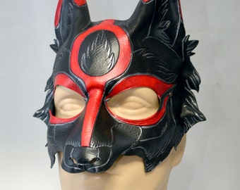Black and Silver Leather Okami Wolf Dog Cosplay Mask