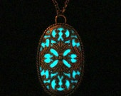 Victorian Necklace Glowing Oval Pendant Glow In The Dark Necklace Antique Silver (glows aqua blue)
