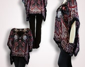 Handmade clothing scarf top, caftan beach coverup, maternity tunic, oversized shirt, plus size caftan, black red silk kaftan, cover up swim