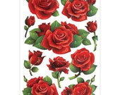Red Rose STICKERS - Rose Glitter Stickers - Victorian Rose Stickers - Rose 3D Stickers - Roses Glitter 3D Stickers