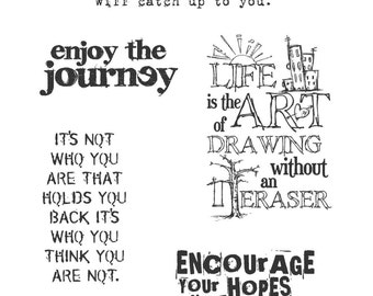 Phrase STAMPS - Tim Holtz Stamps - Sayings Stamps - Tim Holtz Just Thoughts - Phrase Cling Stamps - Sayings Cling Stamps, Words Stamps