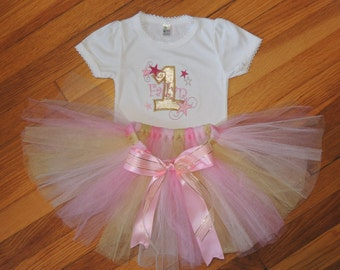 Twinkle Twinkle Little Star Personalized Baby Girl's First Birthday Bodysuit Tutu Set 1st (2nd also available)