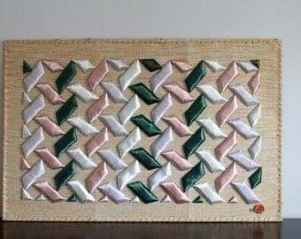Vintage Original Don Freedman Large Geometric Shapes Wall Hanging Silk Jute Steel Frame