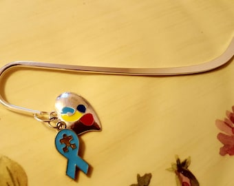 BOOKMARK: Beautiful Autism Awareness Bookmark with Puzzle Charms