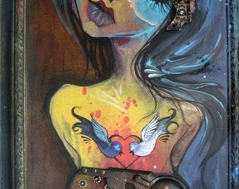 SALE - Machina - original art, mixed media, hybrid robot girl, robot love, one of a kind, trippy art, visionary art, art by phresha
