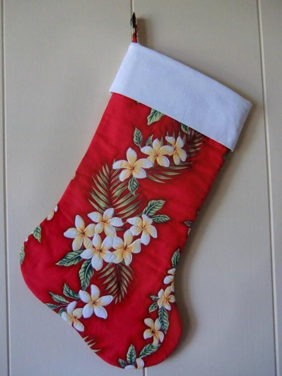 Quilted Hawaiian Christmas Stocking Mele Kalikimaka Tropical
