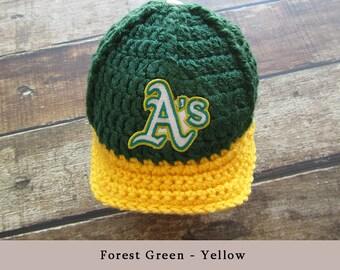 Baby Boy, Baby Boy Hat, Baby Boy Beanie, Oakland Athletics Baby Boy hat, Baby Boy Baseball Cap, Infant crochet hat, Newborn Knitted hat