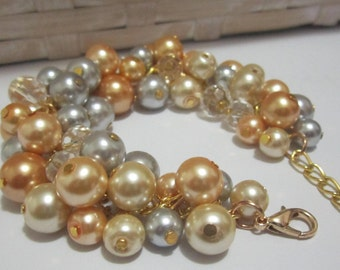 Pearl Wedding Bracelet, Silver and Gold Pearl Bracelet, Bridesmaid Bracelet, Chunky Cluster Bracelet, Silver Gray, Gold and Champagne Pearls