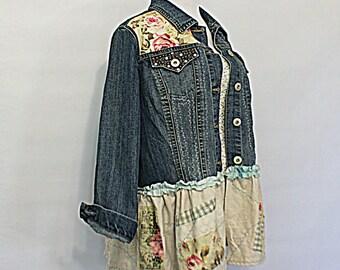 Upcycled Women's Junior's Embellished Jean Jacket / Ladies Unique Shabby Denim Cottage Clothing / Sweet Boho Chambray Top / Size XX-Large