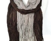 Man Scarf. Brown Crinkled Striped Scarf. Pashmina. Smooth Soft Man Scarf. Birthday Gift for Him. Men Scarves. Men Fashion 27x74in Ready2Ship