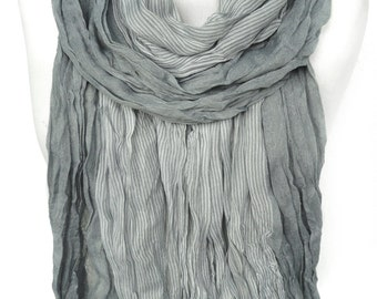 Man Scarf. Grey Striped Scarf. Crinkled Scarf. Pashmina Smooth Soft Birthday Gift for Him Men Fashion Scarves. Gray Scarf 27x74in Ready2Ship