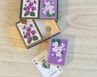 Pretty Vintage Purple Floral Playing Cards by Congress ~ 2 Decks, 1 NOS