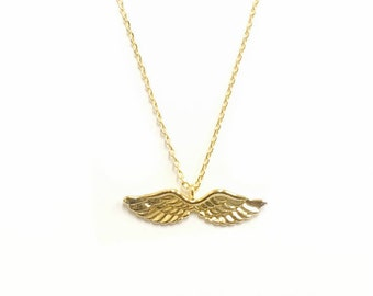 "Tiny Gold ""Angel Wings"" Necklace, Open Wings, Angel Necklace - Dainty, Simple, Birthday Gift, Wedding Bridesmaid Gift"
