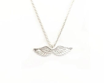 "Tiny Silver ""Angel Wings"" Necklace, Open Wings, Angel Necklace - Dainty, Simple, Birthday Gift, Wedding Bridesmaid Gift"