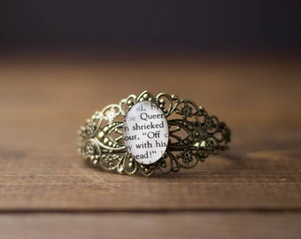 Alice's Adventures in Wonderland, Bronze Ornate Bracelet, Queen, Off With His Head, Classic Literature, Lit, Book Page