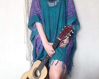 Ocean blue fringe poncho,batwing,caftan dress,ethnic dress oversized dress,ethnic dress,festival,beach cover boho hippie kaftan tribal dress