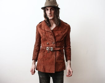 Vintage 1970s Ochre Rusty Dry Old Suede Jacket Small Hippie Boho