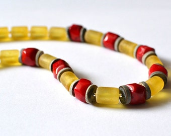 Amber Coral Necklace, Baltic Amber Necklace Gemstone Jewelry Yellow Red Gray Amber Fashion
