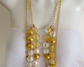 Long Chunky Necklace, Multi Strand Necklace, Statement Necklace, White Pearls, Gold Plated Chain, Gold Plated Beads