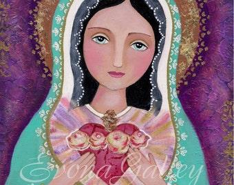 The Immaculate heart of Mary , Heart of Mercy, El corazón Inmaculado de María - Giclee print, Mixed Media, Folk Art, Wall Decore by Evona