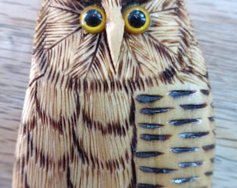 Vintage Owl Brooch, handmade from the Maine Woods