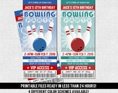 BOWLING TICKET INVITATION Birthday Party - Any Age - (print your own) Personalized Printable Files - Cosmic Bowl