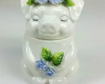 Vintage Pig Figurine Trinket Box, by Enesco, Fine Bone China Pig 1979, Blue Flowers