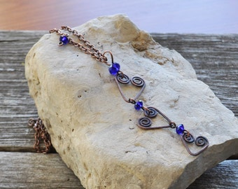 Rustic Hammered Triple Heart Oxidized Copper & Cobalt Blue Crystal Minimalist Hand Made Valentines Day Sweetest Day Gift