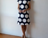 Polka dot dress / knee length dress / quilted dress / navy and white / shift dress