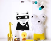 Nursery wall art, Kids room decor, nursery decor, superhero poster, monochrome print, black and white nursery poster, fox