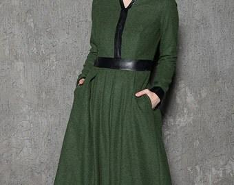 Green wool dress, designer dress, warm dress, plus size dress, leather trims dress, autumn dress, winter dress, moss green dress C728